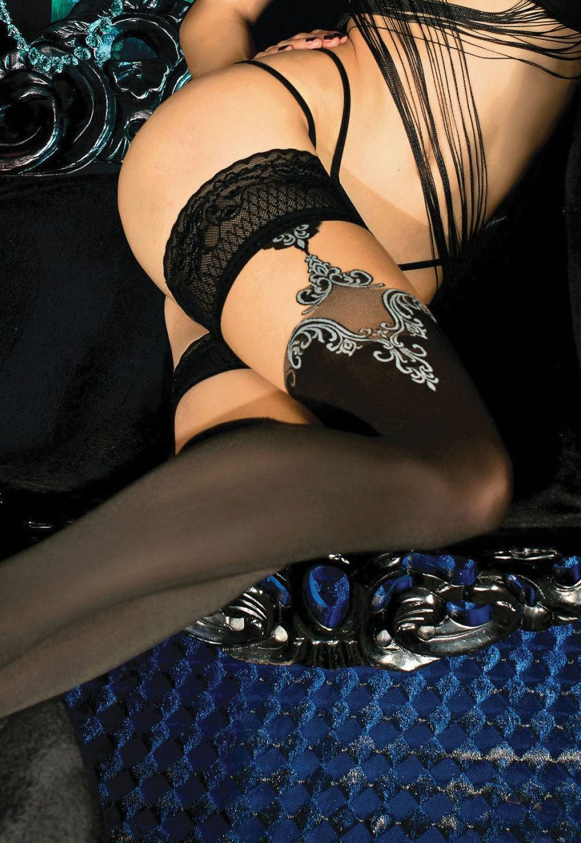 Ballerina 450 Opaque Hold-Ups with Baroque Motiff in Grey
