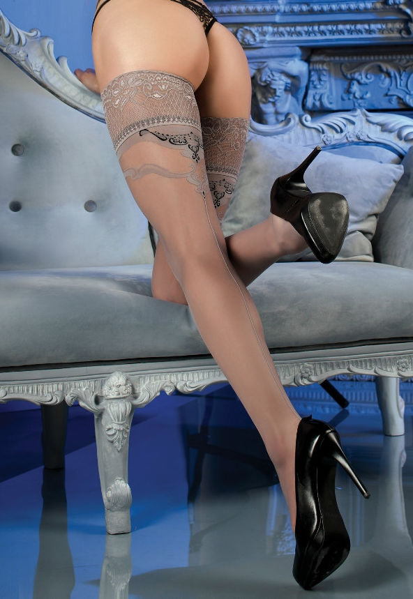 Ballerina 466 Grey Seamed Sheer Hold-Ups with Baroque Design