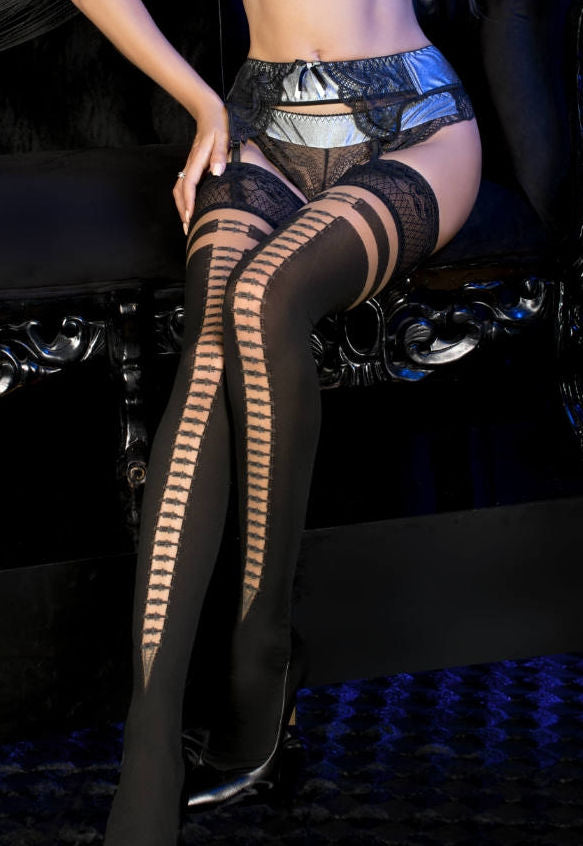 Ballerina 494 Opaque Hold-Ups with Silver Buckles Seams