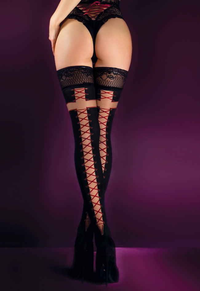 Ballerina 526 Opaque Hold-Ups with Red Lace-Up Seams