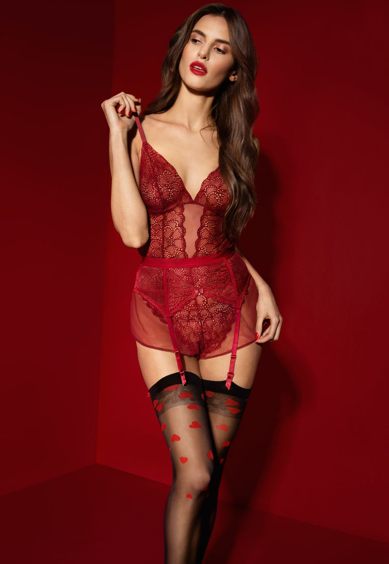 Alice 20 Den Red Hearts Patterned Sheer Stockings by Fiore