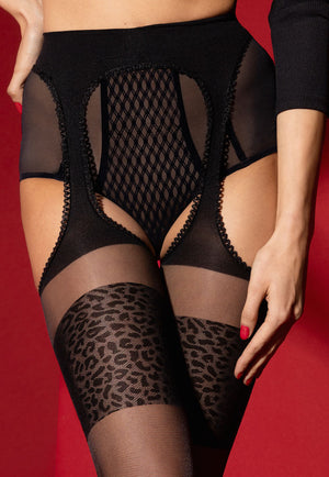 Amour Sauvage Sheer Suspender Tights with Animal Print Welts by Fiore in black