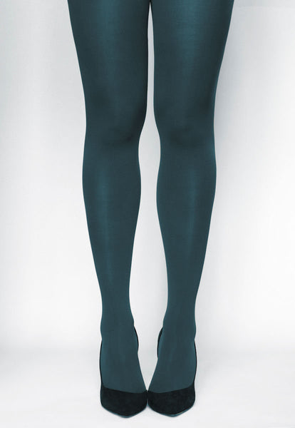 Ave 70 Denier Matte Opaque Tights in Blu Notte teal blue green
