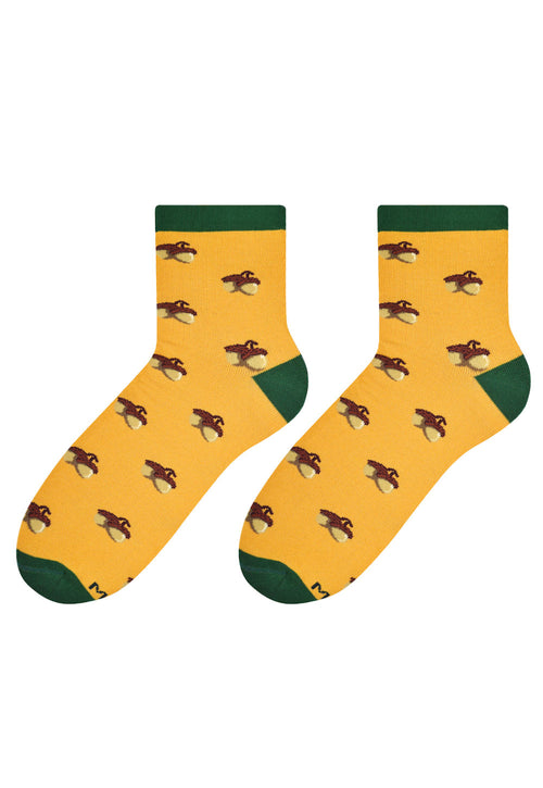 Acorns Patterned Socks in Yellow by More