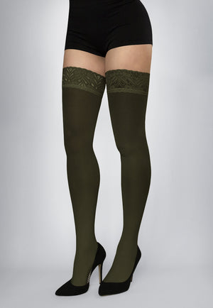 Ar Fiona Coloured Opaque Hold-Ups Thigh Highs in military green