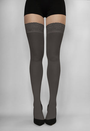 Ar Fiona Coloured Opaque Hold-Ups Thigh Highs in grafitto grey