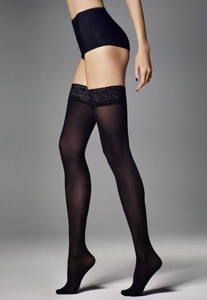 Ar Fiona Coloured Opaque Hold-Ups Thigh Highs in Black