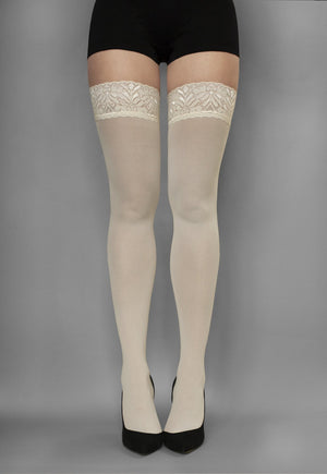 Ar Fiona Coloured Opaque Hold-Ups Thigh Highs in ivory cream white
