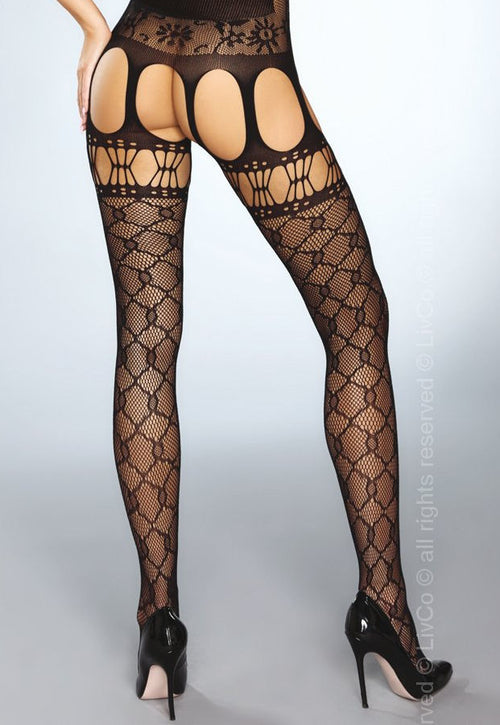 Arisha Lace-Up Front Fishnet Black Bodystocking by LivCo