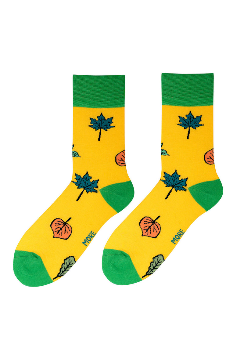 Autumn Leaves Patterned Socks in Yellow by More