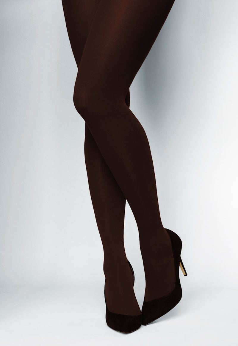 Ave 70 Denier Matte Opaque Tights in Chocolate brown