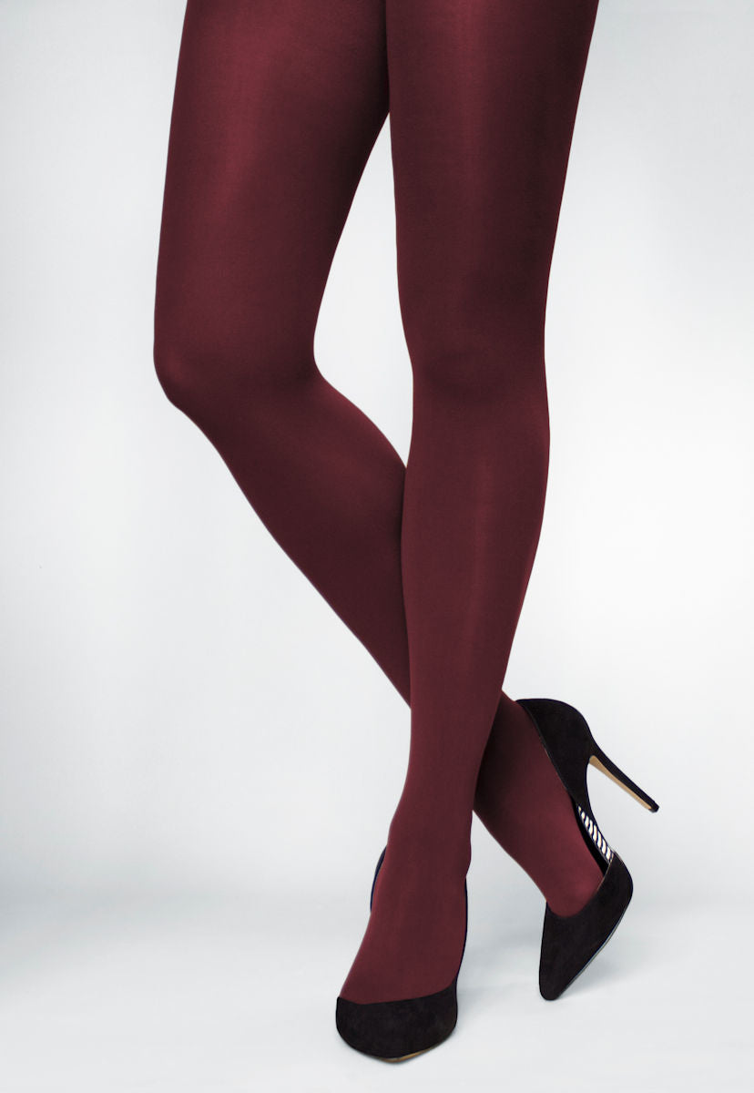 Ave 70 Denier Matte Opaque Tights in Granate burgundy maroon red