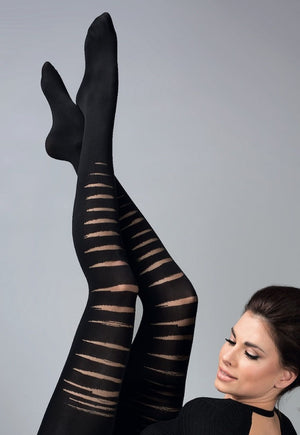 Axel Ripped Effect Opaque Patterned Tights by Gabriella
