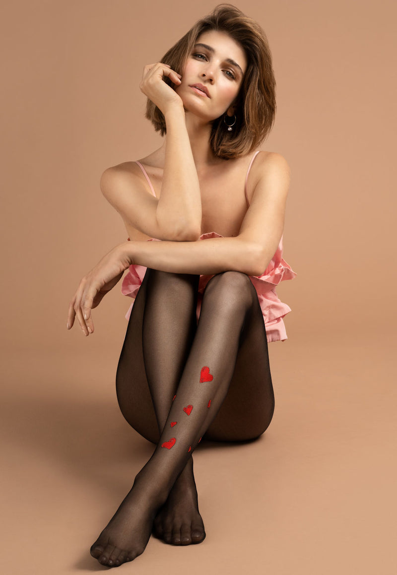 Blind Date Sheer Tights with Red Hearts by Fiore in black and red