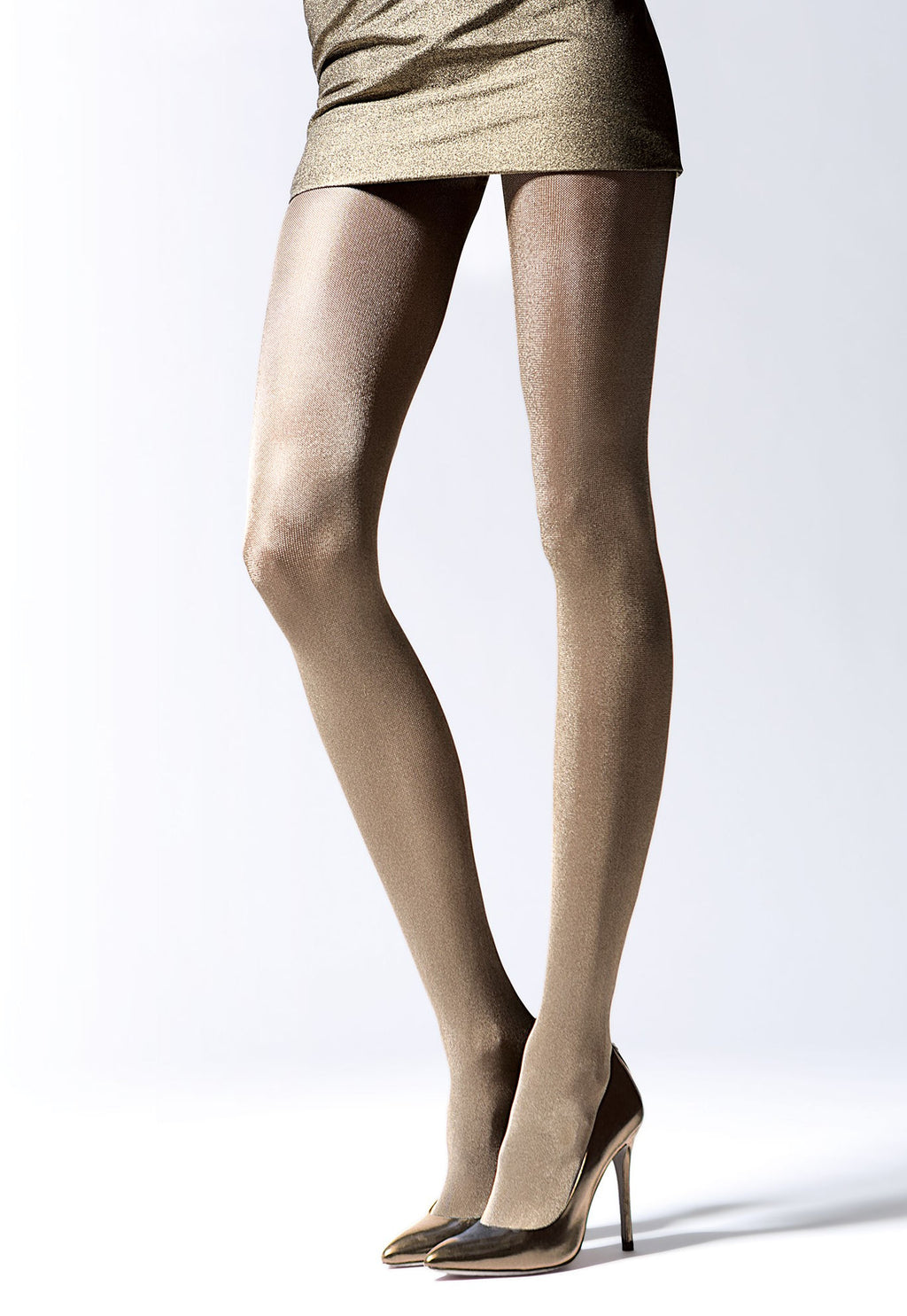Brilliance 50 Den Metallic Glossy Opaque Tights by Knittex in gold