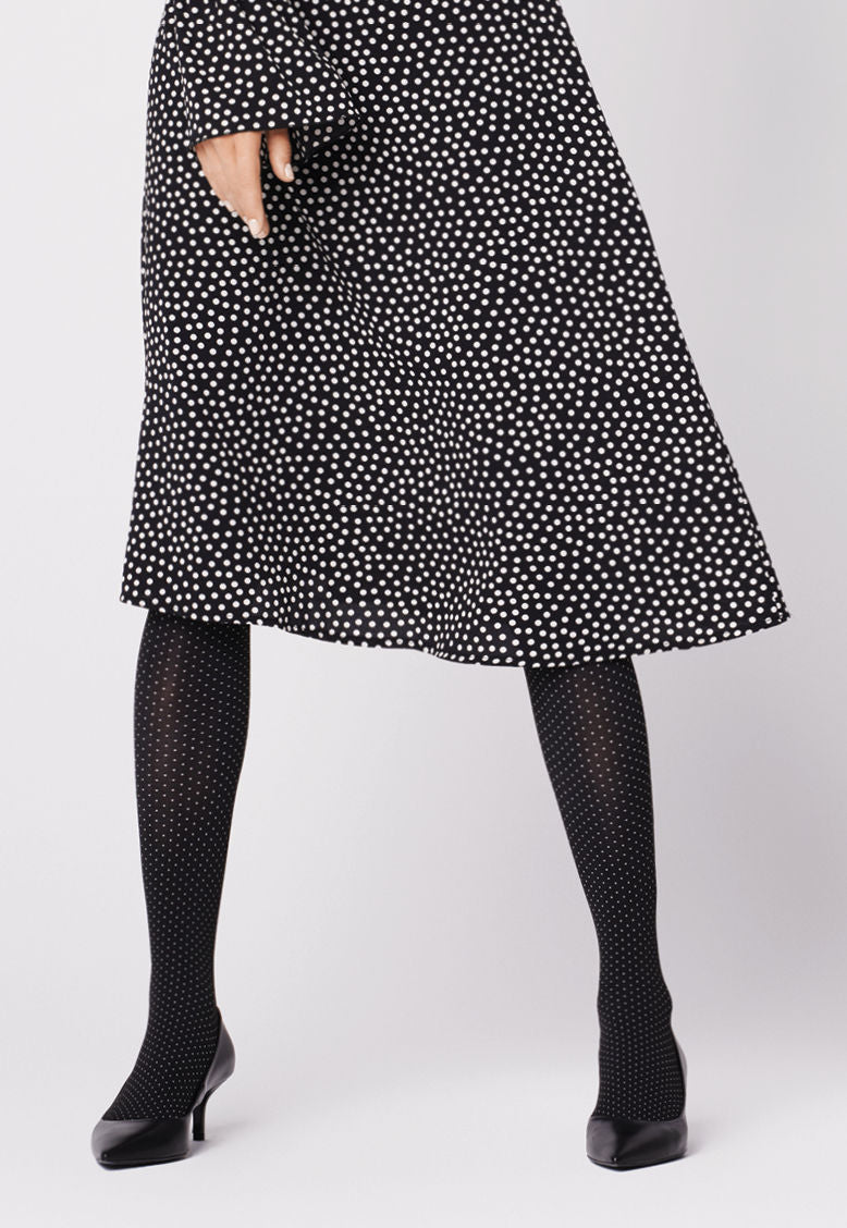 Buona Sera Polka Dot Patterned Tights in Black/White