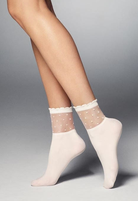 Bibbi Polka Dot Patterned Opaque Socks in ivory cream white