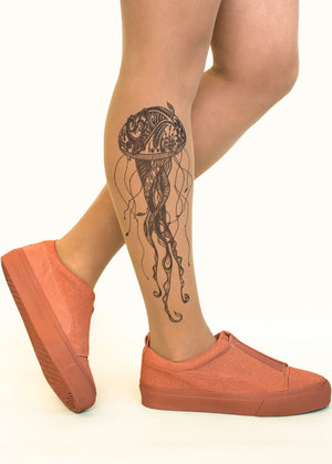 Black Jellyfish Tattoo Printed Sheer Tights/Pantyhose