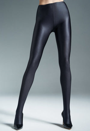 Black Brilliant Super Glossy Black Opaque Tights
