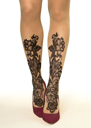 Black Lace Tattoo Printed Sheer Tights/Pantyhose