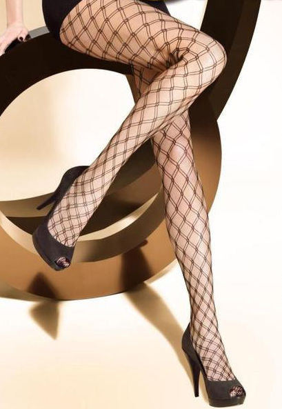 Brigitte 03 Whale Fishnet Patterned Tights in black