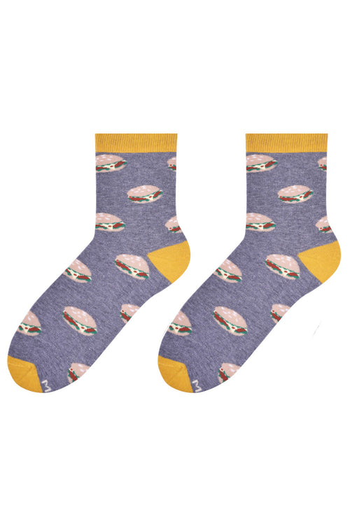 Burgers Patterned Socks in Grey & Yellow by More