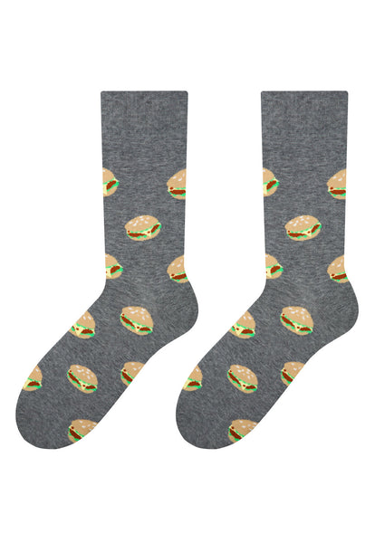 Burgers Patterned Socks in Grey by More