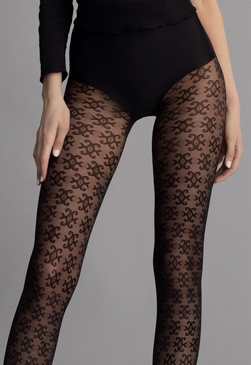Carrie Graphic Logo Patterned Lace Tights by Fiore