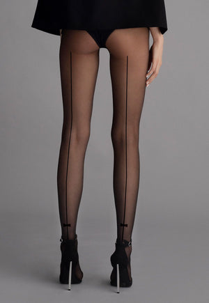 Christy Seams & Bows Patterned Black Sheer Tights by Fiore