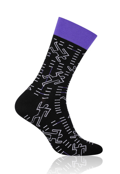 Silhouette Doodles Patterned Socks in Black & Purple by More