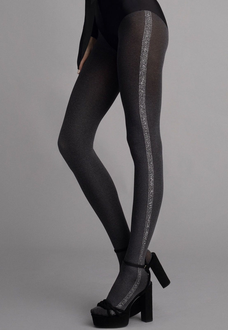 Cosmo Marl Opaque Tights with Silver Lurex Stripe by Fiore in grey marl