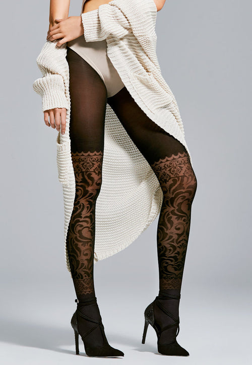 Couture Mock Baroque Hold-Up Patterned Tights by Fiore