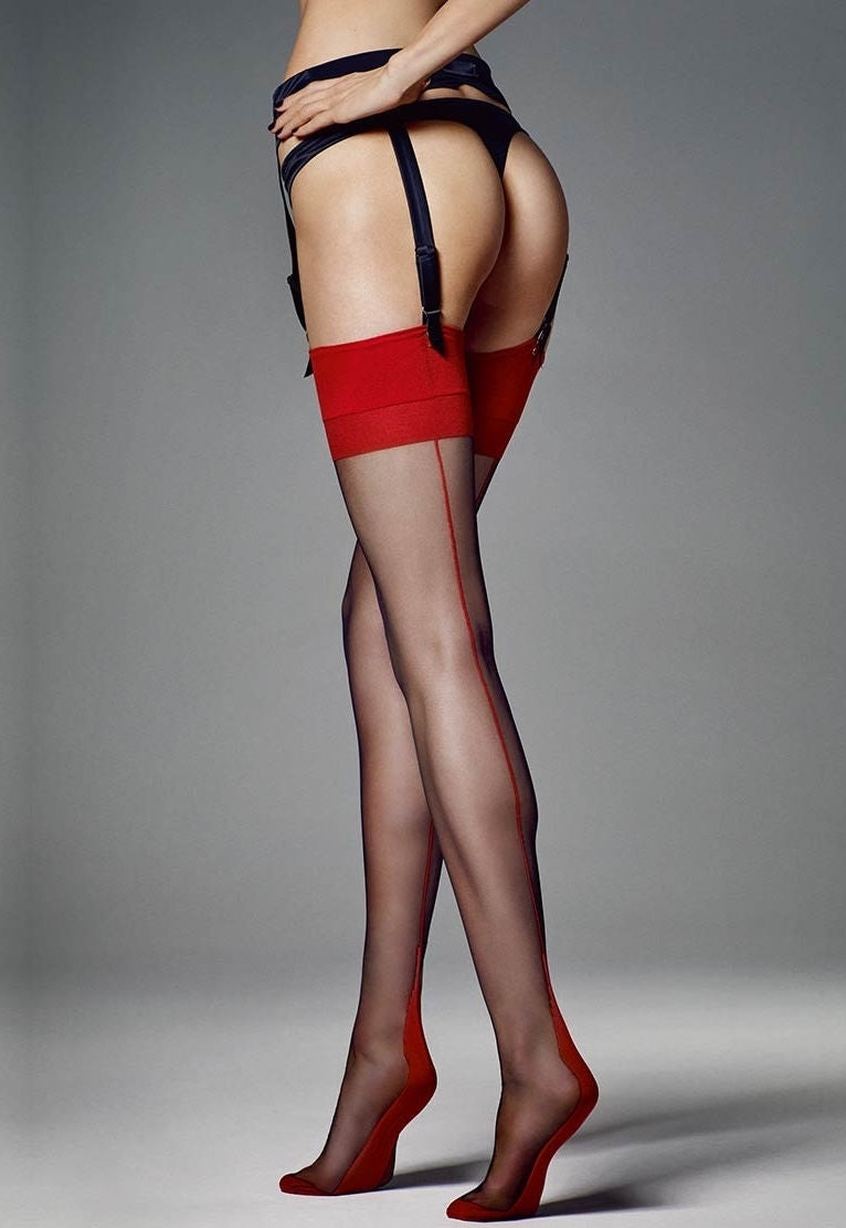 Leticia Contrast Seam & Welt Sheer Stockings by Veneziana in black red