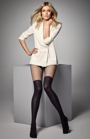 Calzerotto Mock Over-Knee Sock Fishnet Tights in Black