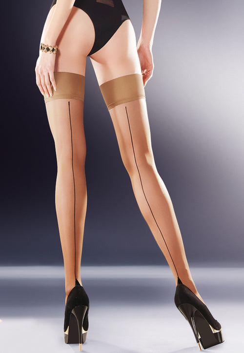 Capri Contrast Backseam Sheer Hold-Ups in nude/black