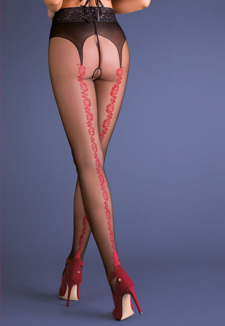 Caprice Floral Hold-Up Patterned Tights by Knittex