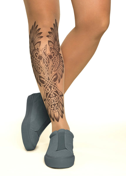 Celtic Phoenix Tattoo Printed Sheer Tights/Pantyhose