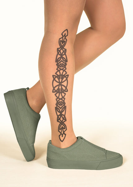 Celtic Side Design Tattoo Printed Sheer Tights/Pantyhose