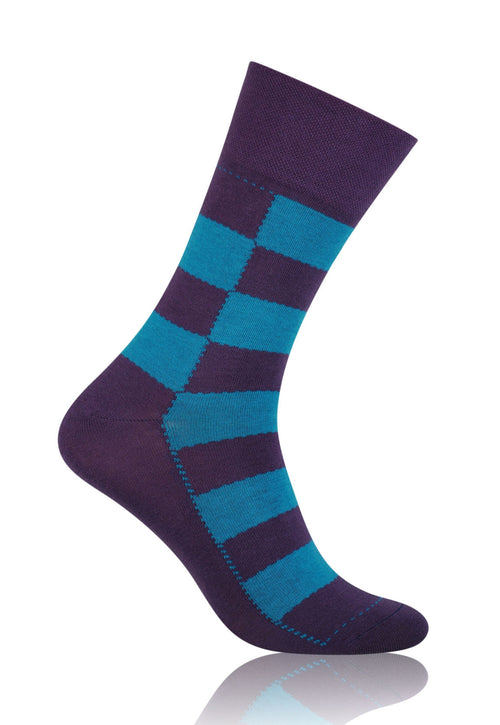 Chess Board Patterned Socks in Purple & Blue by More