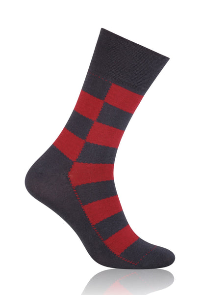 Chess Board Patterned Socks in Red & Grey by More