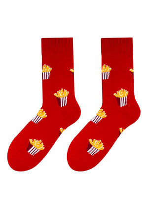 French Fries Patterned Socks in Red by More