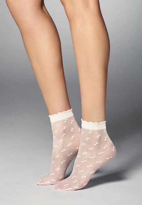 Claudia Bow Patterned Micronet Black Sheer Socks