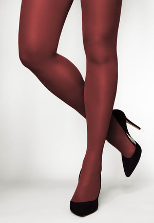 Concorde 60 Denier Coloured Opaque Tights in Porto burgundy maroon red