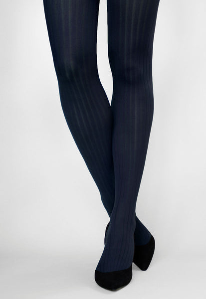 Costina II Wide Ribbed Cable Tights in navy blue