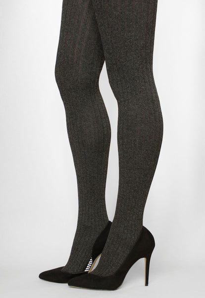 Costina II Melange Wide Ribbed Cable Tights in anthracite grey marl