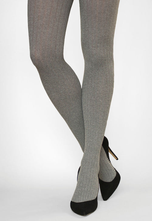 Costina II Melange Wide Ribbed Cable Tights in light grey marl