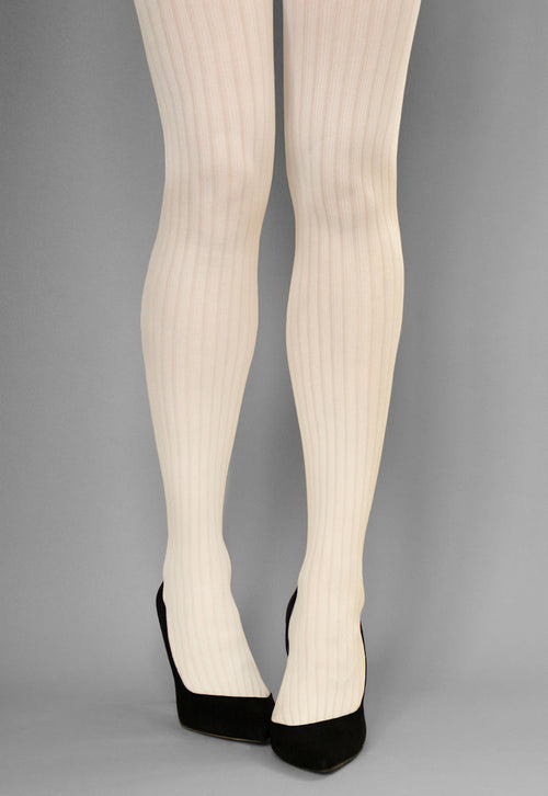 Costina II Wide Ribbed Cable Tights in cream ivory white