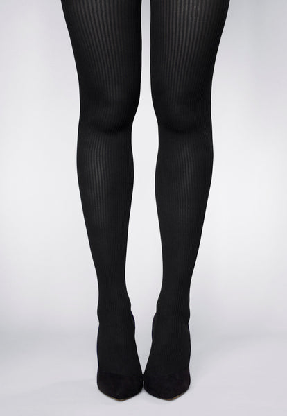 Costina Ribbed Cable Knit Tights in Black