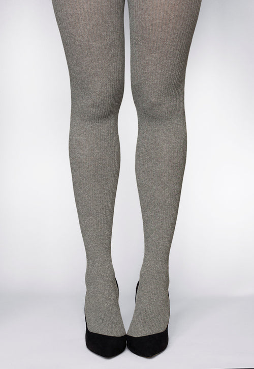 Costina Ribbed Cable Knit Tights in marl grey