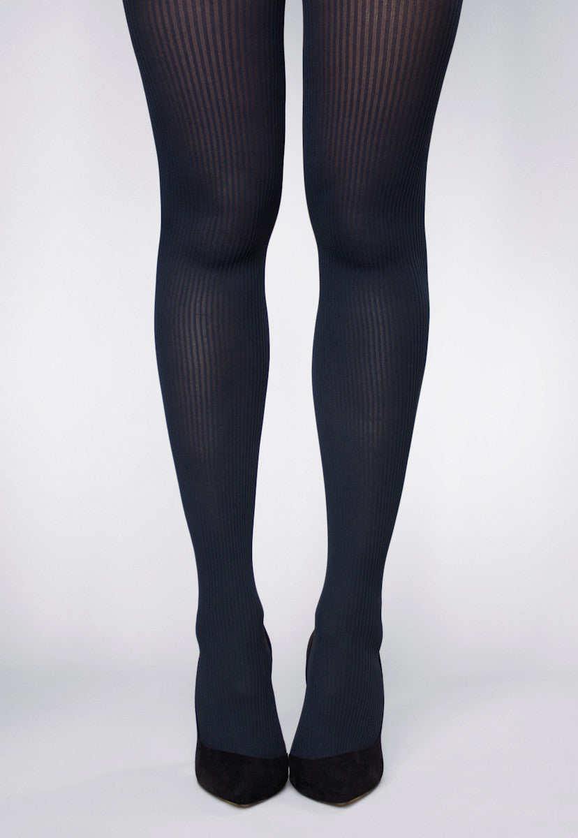 Costina Ribbed Cable Knit Tights in Navy Blue